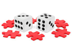 Dices and puzzle Royalty Free Stock Image