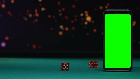 Dices que cai na mesa verde, possibilidade ganhar no app em linha do casino para o smartphone vídeos de arquivo