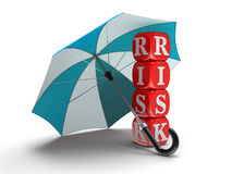 Dices with Risk under Umbrella (clipping path included) Royalty Free Stock Images