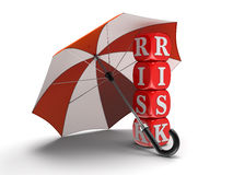 Dices with Risk under Umbrella (clipping path included) Stock Photography