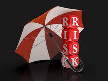 Dices with Risk under Umbrella (clipping path included) Royalty Free Stock Photo