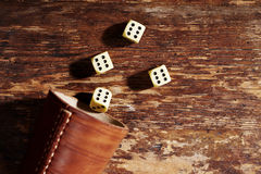 Dices rolled with sixes Stock Photos