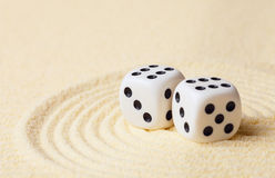 Dices on sand in rock garden Stock Image
