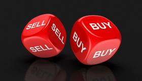 Dices with sell, buy Stock Photos