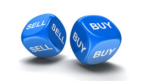 Dices with sell, buy Stock Images