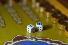 Dices set.Play backgammon table game.Rolling dice in old board game.  royalty free stock photos