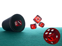 Dices and shaker Stock Photos