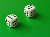 Dices (only six). Two dices (only six) on green background Royalty Free Stock Images