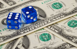 Dices on some money Stock Image