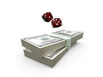 Dices and Stack of Dollar Bills Royalty Free Stock Photo