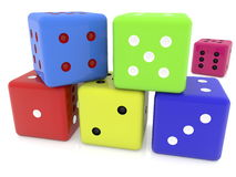 Dices in various colors on white Royalty Free Stock Images