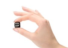 Dices in woman hand Stock Photo
