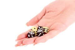Dices in woman hand isolated Royalty Free Stock Photos