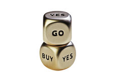 Dices with words Buy Yes and Go Stock Photography