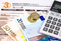 Dichiarazione dei redditi italiana chiamata 730 fotografia stock