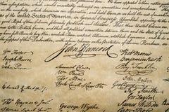 Dichiarazione di indipendenza fine del 4 luglio 1776 su fotografie stock