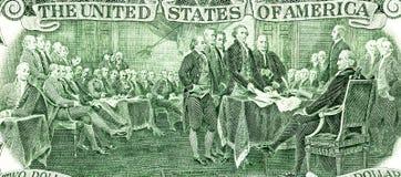 Dichiarazione di indipendenza di firma dalla banconota di due dollari fotografia stock libera da diritti