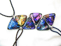 Dichroic Glass Pendants Stock Image