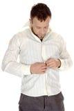 Dicht:knopen-op wit overhemd Royalty-vrije Stock Foto's
