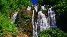 Dicht Meningsmeer door Waterval onder Bosbouw Rocky Hills stock footage