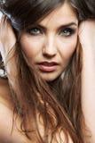Dicht omhooggaand de schoonheidsportret van het vrouwengezicht Vrouwelijk model Royalty-vrije Stock Afbeeldingen