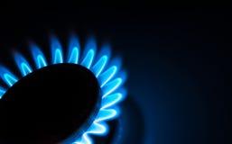Dicht opbrandt de blauwe vlammen van de gasfornuishaardplaat in dark op een donkere achtergrond Stock Foto