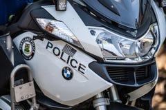 Dicht politiebmw motocyccle omhoog royalty-vrije stock afbeeldingen