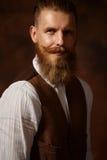 Dicht portret van de mens met baard en snor stock fotografie