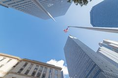 Dicht van lange horizongebouwen in Dallas van de binnenstad, Texas, de V.S. w royalty-vrije stock foto's