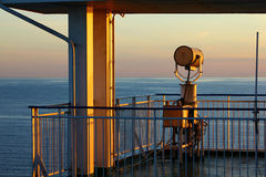 Dichtbij de cabine van de kapitein op voering Stock Foto