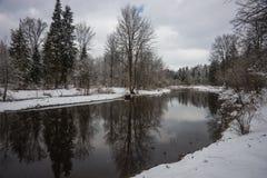 Dichtbij het landschap van Moskou met een rivier en zijn banken omvat met sneeuw Stock Foto