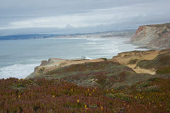Dichtbij het strand van Puntfabril in de westelijke kust van Portugal op Ferrel-gebied, Peniche, Portugal Stock Foto
