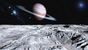 Dichtbij Saturn Royalty-vrije Stock Afbeelding