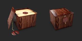 Dichte en open Houten dooskisten met koninklijke zegel 3d illustaration Royalty-vrije Stock Afbeeldingen