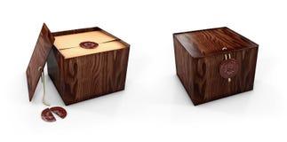 Dichte en open Houten dooskisten met koninklijke zegel 3d illustaration Stock Fotografie