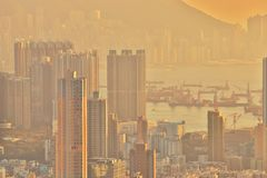 Dichte hoge stijgingsflats in Kowloon, Hongkong Royalty-vrije Stock Fotografie