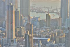 Dichte hoge stijgingsflats in Kowloon, Hongkong Royalty-vrije Stock Afbeeldingen