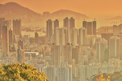 Dichte hoge stijgingsflats in Kowloon, Hongkong Royalty-vrije Stock Afbeelding