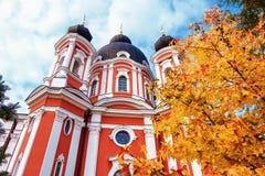 Dichte mening aan Curchi-Klooster in Oude Orhei, Moldavië royalty-vrije stock afbeelding
