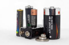 Dichte mening van batterijinzameling royalty-vrije stock afbeelding