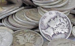 Dichte mening van oud zilveren passement royalty-vrije stock afbeeldingen