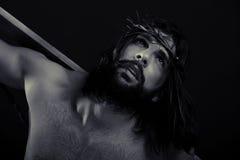 Dichte omhoog zwart-wit van Jesus Stock Fotografie