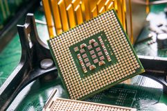 Dichte omhooggaand van de computercpu component Royalty-vrije Stock Foto