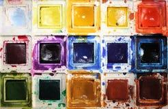 Dichte Omhooggaand van de Doos van de Verf van de Kleur van het water Royalty-vrije Stock Foto's