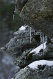 Dichte omhooggaand van de ijskegels op rotsen. Stock Foto