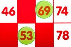 Dichte Omhooggaand van de Kaart van Bingo Stock Foto's