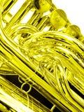 Dichte omhooggaand van de tuba in goud royalty-vrije stock foto