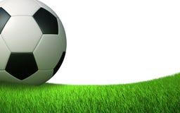 Dichte omhooggaand van de voetbalbal op het gazon Royalty-vrije Stock Foto