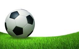 Dichte omhooggaand van de voetbalbal op het gras Royalty-vrije Stock Afbeelding