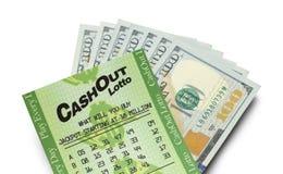 Dichte Omhooggaand van het lottocontante geld Royalty-vrije Stock Foto's
